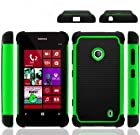 (BLACK/GREEN) 2 IN 1 Hard Protector Cover+Soft Silicon Case (shockproof design HYBRID CASE)+NEW SNK microfiber cleaning cloth FOR Nokia Lumia 521