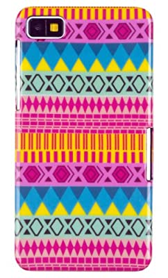 Colorful Pink Aztec Print Hard Case for BlackBerry Z10 + DandyCase Keychain Screen Cleaner [Retail Packaging by DandyCase] by DandyCase