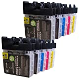 10 CiberDirect High Capacity Compatible Ink Cartridges for use with Brother DCP-385C Printers.