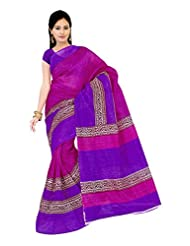 Parichay Women's Bhagalpuri Silk Saree(Pink, Purple)