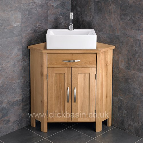 Simple Clickbasin Barletta Ceramic Sink With Ohio Corner Double Door Oak Cabinet