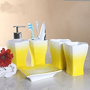5 piece ceramic bathroom accessory pure for Yellow bathroom accessories