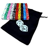 100 Assorted Dice 10 Colors 16 mm with DLS Storage Bag - Great for Gaming Casino Night