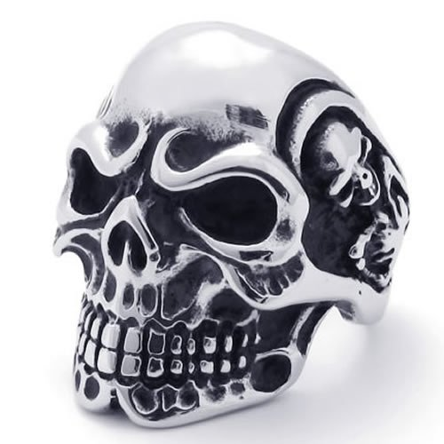 KONOV Jewelry Vintage Gothic Skull Biker Stainless Steel Mens Ring, Silver (Available in Sizes 8 - 15) - Size 12