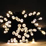 ISolem Warm White Solar Powered Garden Lights LED String Fairy Lights Waterproof for Christmas Tree Lights Party Wedding Events FESTIVE Outdoor (2 Operation Modes) - (60 LEDs 8M) outdoor lighting option for rooflines, porches, fences and railings