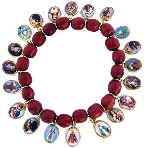 Stretch Solid Cherry Wood Beads Bracelet with 21 Antique Gold Medals of Jesus, Mary and Saints. Made in Brazil.