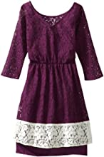 Ella Moss Girl Big Girls39 Victoria Long-Sleeve Lace Dress With Contrast Border