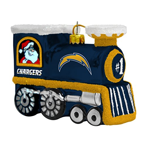 NFL San Diego Chargers Blown Glass Train Ornament