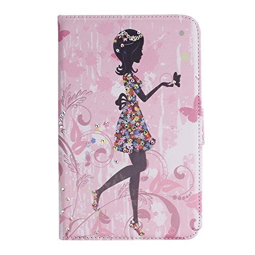 IKASEFU(TM) Girl's Cute Flower PU Leather Folio Case Protective Book Style Flip Cover Bling Case with Stand and Rhinestone for Samsung Galaxy Tab 3 7.0 7 inch Tablet SM-T210 / SM-T217 (Floral Girl)