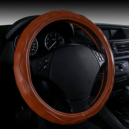 Brown Color Top Quality Leather Luxury Car Steering Wheel Cover style Fit Steering-Wheel 14-15