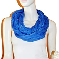 SCARF_TRADINGINC® Light Weight All Season Chain Gliding Crinkle Infinity Scarf (Blue)