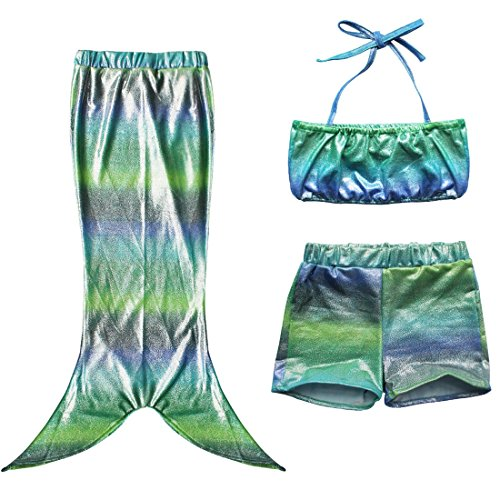 iiniim Girls Kid Princess 3Pcs Mermaid Swimmable Swimsuit Swimwear Tail Costume