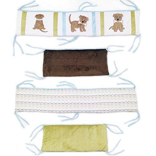 One Grace Place Puppy Pal Boy Crib Bumper, Powder Blue, Sage Green, Chocolate Brown, Orange, White