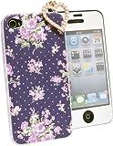 iPhone4s/4ケース京包美花柄ブーケ紫気泡カット液晶保護フィルムイヤホンジャック3点セット