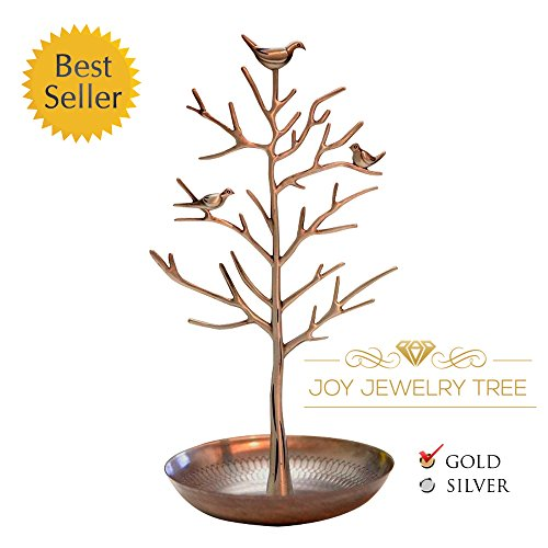 Elegant Tall & Large Jewelry Tree Display Stand - Extra Durable for Earrings, Bracelets, Necklaces (Premium Copper)