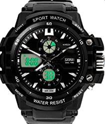 Skmei Stylish Black Dial With White Details Analogue-Digital Sports Watch For Men (Additional Green Light)