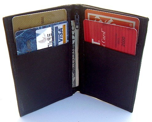 "Mens Black Leather ""Featherweight"" Bifold Wallet 760"
