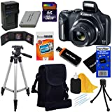 Canon PowerShot SX170 IS 16.0 MP Digital Camera with 16x Optical Zoom and 720p HD Video (Black) + NB-6L Battery & AC/DC Battery Charger + 9pc Bundle 32GB Deluxe Accessory Kit w/ HeroFiber Ultra Gentle Cleaning Cloth