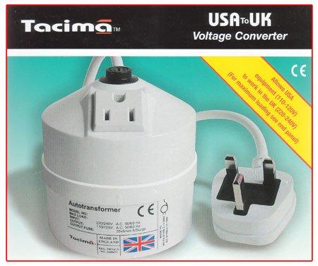 Tacima 240/120V Stepdown Transformer USA to UK 200VA SC5329