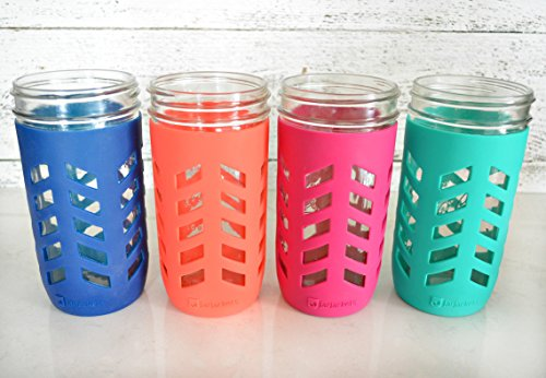 JarJackets Silicone Mason Jar Protector Sleeve - Fits 24oz (1.5 pint) Wide-Mouth Jars   Package of 4 (Multicolor)