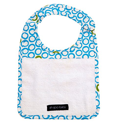 Ah Goo Baby Bib, 100% Cotton Terry Cloth, Wrap Around Collar, Bubbles in Water Pattern