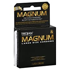 Trojan Magnum Condoms, Premium Latex, Lubricated, Large Size, 3 ct.