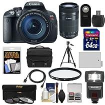 Canon EOS Rebel T5i Digital SLR Camera & EF-S 18-135mm & 55-250mm IS STM Lens with 64GB Card + Battery + Case + Flash + 3 Filters Kit