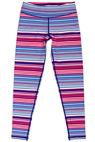 90 Degree by Reflex Kids - Girls Printed Leggings - Juniors Pants - Peppermint Stripe Pink Blue S (7-8)