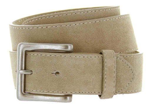"Square Buckle Suede Leather Casual Jean Belt 1.5"" Wide Tan 38"