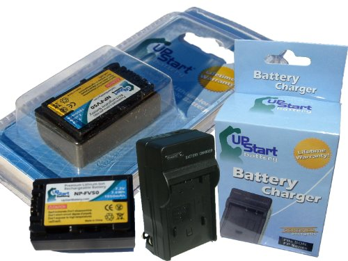 UpStart Battery New - Fully Decoded NP-FV50 Replacement 2 Batteries+Charger Kit for Sony Camcorders