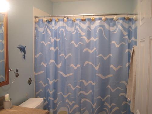 seashell beach nautical theme shower curtain