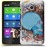 Nokia Lumia 630 / 635 H�lle Hardcase (Harte R�ckseite) Case H�lle Cover - Cooles blaues Totenkopf Skull Design Muster - Wei� und Rot, Lila, Pink, Rosa, Blau und Gr�n