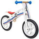 BIKESTAR® Premium Kinderlaufrad für mutige Entdecker ab 3 Jahren ★ 12er Natur Holz Edition ★ Weiß Blau Rotes Rally Design