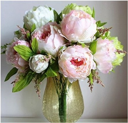 Hilingo 1 Bouquet Fake Peony Artificial Flower Home Wedding Decor Pink (With Free Gift)