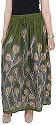 Soundarya Women's Cotton Skirt (Green)