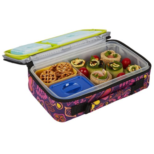 Fit & Fresh Bento Box Lunch Kit with Reusable BPA-Free Removable Plastic Containers, Insulated Lunch Bag and Ice Packs (Bento Box With Ice Pack compare prices)