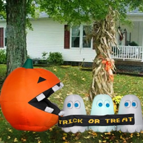 Halloween Pac-Man Pumpkin And Runaway (Trick-Or-Treat) Banner front-645679