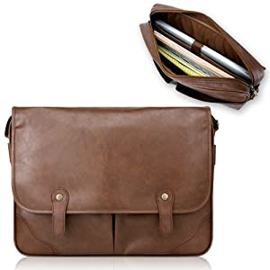 Duzign Rover Messenger Bag (Light Brown) for 15 Inch Laptop + Pocket for 10 Inch by Duzign