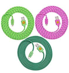 Superior Quality 6FT (2M) Braided Nylon Lightning Charging Cables/Cords/Wires for Apple iPhone 6, 6 Plus, iPhone 5, 5C, 5S, iPad 4, iPad Mini, iPad Air, Air 2, iPod Touch 5, iPod Nano 7, 8 pin to USB - 3 pack (teal grn pnk)