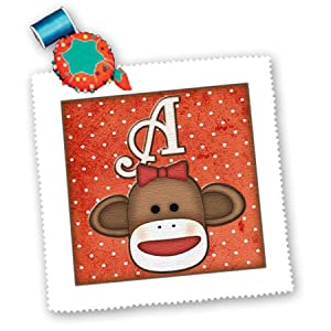 3dRose qs_102804_2 Cute Sock Monkey Girl Initial Letter A-Quilt Square, 6 by 6-Inch