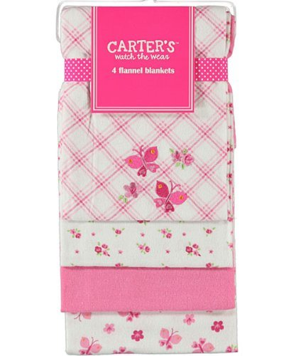 "Carter's Watch the Wear ""Butterfly Medley"" 4-pack Flannel Blankets"