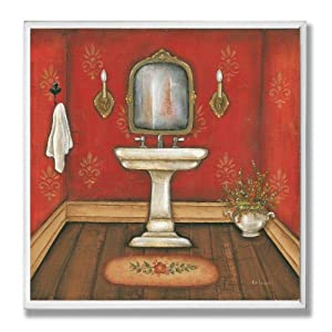 Decor Collection Red With Sink Bathroom Wall Plaque Decorative
