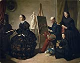 Oil Painting 'Dominguez Becquer Valeriano El Pintor Carlista Y Su Familia 1859', 20 x 26 inch / 51 x 65 cm , on High Definition HD canvas prints, gifts for Basement, Garage And Study Room Decoration