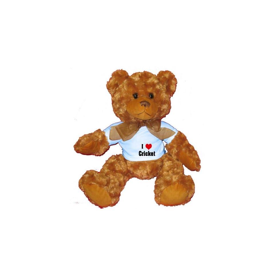 I Love/Heart Cricket Plush Teddy Bear with BLUE T Shirt