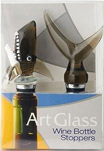 Deep Blue Ocean Shark Bite Tail Glass Art Wine Bottle Stopper Topper Set