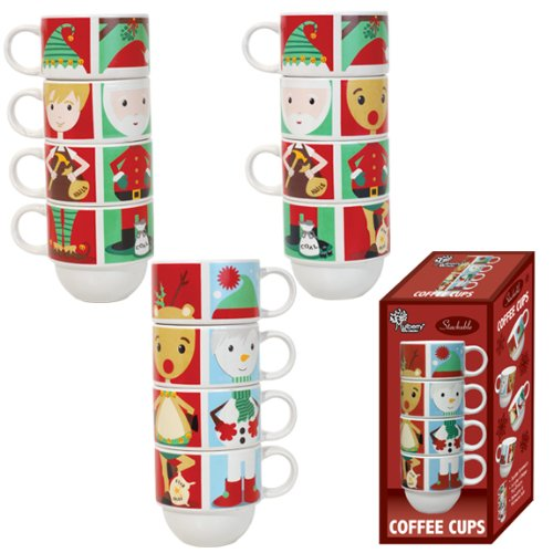Stackable Christmas Coffee Mugs - Set of 4 Stoneware