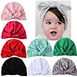Hilinker 8 Pack Newborn Baby Girl Soft Cute Turban Hat With Flowers Elastic Knot Bow Cap (8 Bunny Ears)