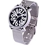 Time100 Ladies' Colorful Enamel Grey Steel Band White Number Fashion Watch #W50046L.06A