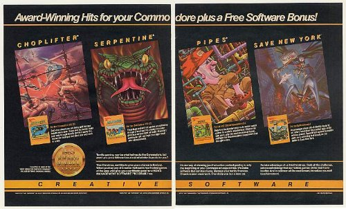 1983 Choplifter Serpentine Pipes Save New York Creative Software Commodore Computer Games 2-Page Print Ad (Memorabilia) (48073)