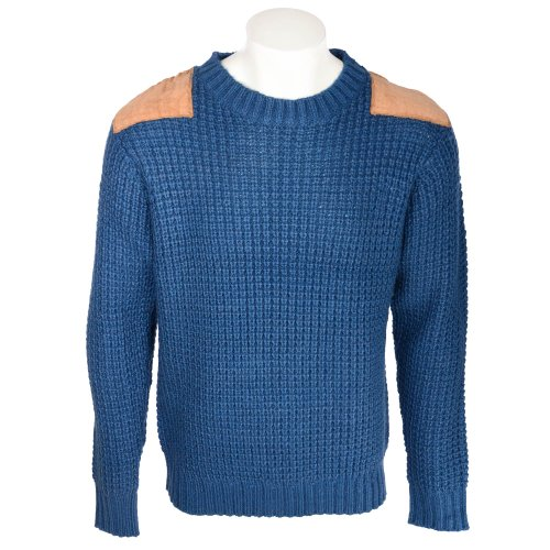 Fletcher & Lowe Men's Petrol Chunky Fisherman Rib Crew Neck Jumper With Shoulder Patches in Size XXLarge